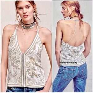 {Free People} RARE Best of Me Embellished Tank Top